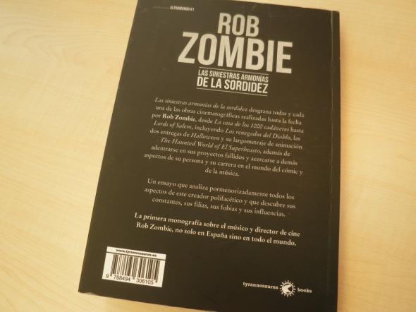 Contraportada de Rob Zombie, las siniestras armonías de la sordidez