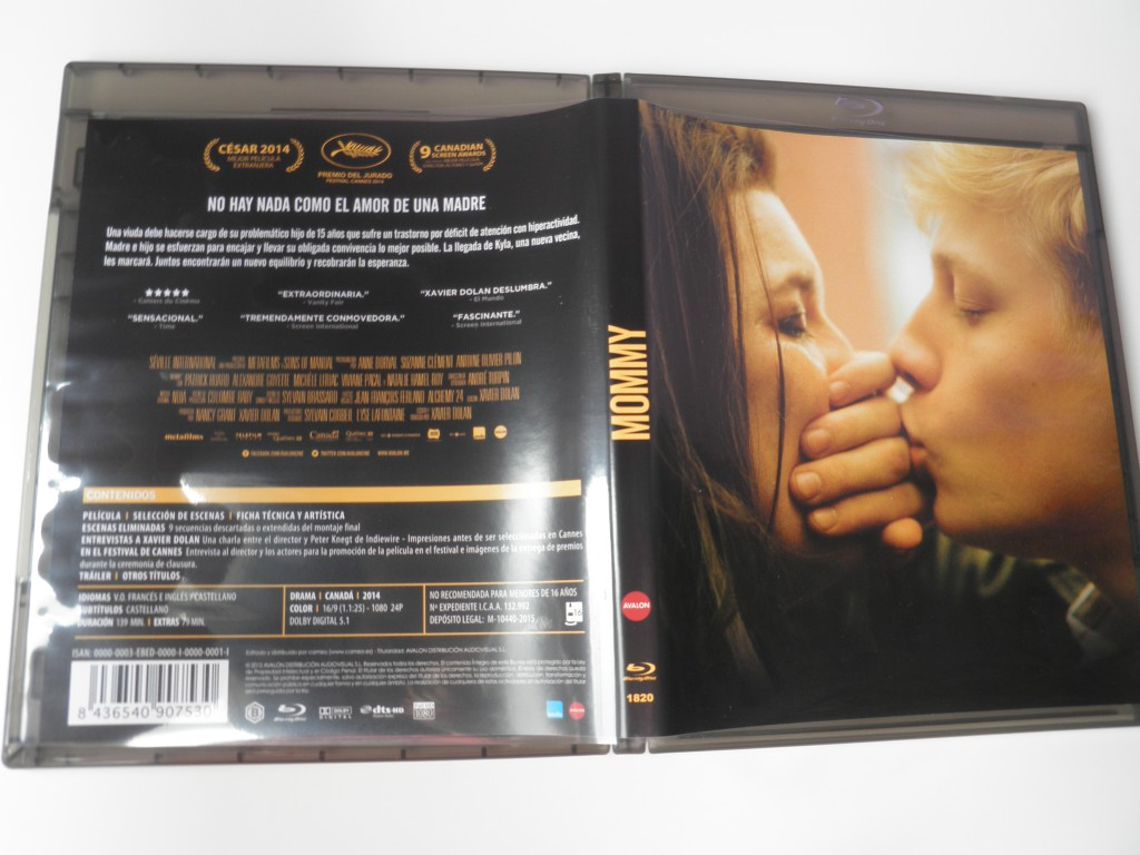 Portada y contraportada Blu-ray Mommy Edición Cameo/Avalon