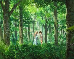 Una imagen el el bosque de El recuerdo de Marnie, protagonizada por Anna y su amiga Marnie