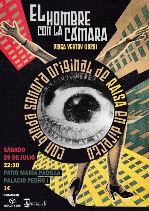 Cartel para la proyección de El hombre con la cámara con concierto de Raisa