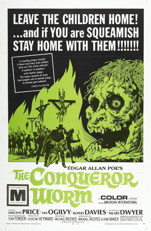 Póster norteamericano de Witchfinder General, como The Conqueror Worm